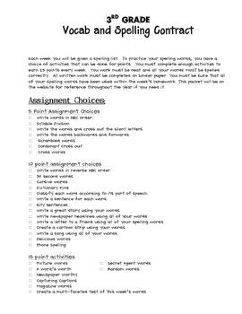 3rd grade spelling contract activities