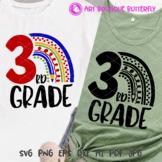 3rd grade svg Rainbow print Bundle Third grade shirt