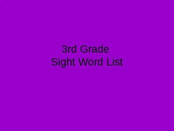 3rd grade timed sight word power point (editable)