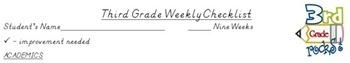 3rd grade weekly checklist