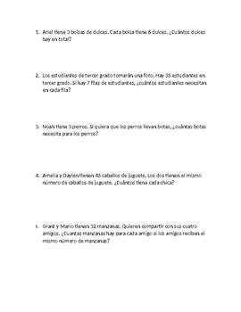 3rd grade word problems SPANISH