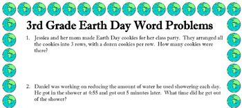 3rd grade word problems about EARTH DAY