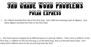 3rd grade word problems about Polar Express