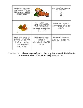 3rd grade word work homework