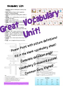 3rd or 4th Grade Vocabulary Lesson- 1 Week