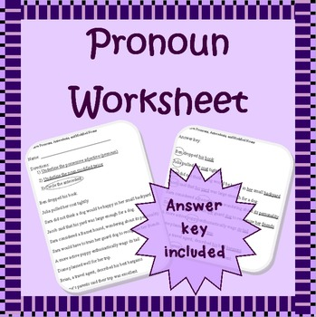 3rd person possessive adjectives, antecedents, & modified nouns worksheet