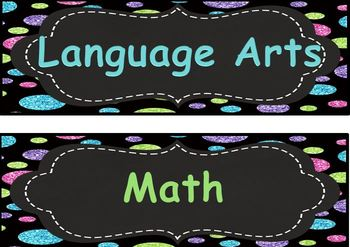 3rd/ third Common Core math/ Lang Arts I Can Statements blue, lime green chevron