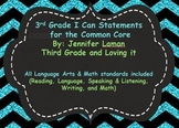 3rd/ third Common Core math/ Lang Arts I Can Statements bl