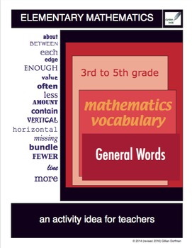 3rd to 5th Grade Mathematics Vocabulary Series: General Words