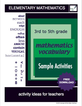 3rd  to 5th Grade Mathematics Vocabulary Series: Sample Activities