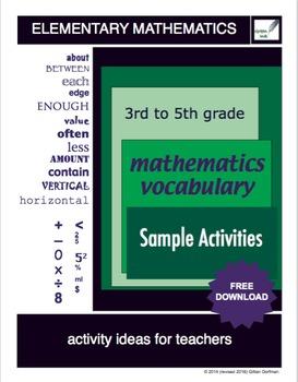3rd  to 5th Grade Mathematics Vocabulary Series: Sample Ac