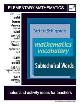 3rd to 5th Grade Mathematics Vocabulary Series: Subtechnical Words