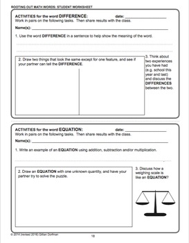 3rd to 5th Grade Mathematics Vocabulary Series: Technical Words