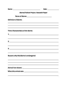 3rd/4th Grade Biome/Habitat Thematic Unit