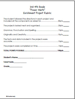 3rd and 4th Grade Math Enrichment Projects Set #1