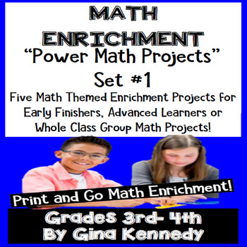 Math Projects, 3rd and 4th Grade Print and Go Enrichment! Projects Set #1