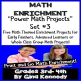 Math Projects, 3rd and 4th Grade Print and Go Enrichment! Projects Set #3