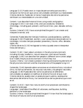 3rdGrade-Bilingual Social Studies Content & Language Objectives aligned to TEKS