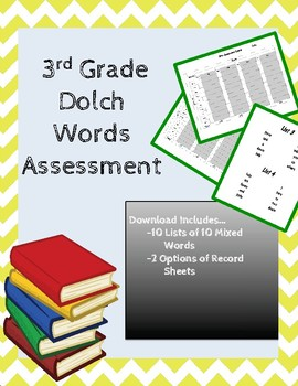 3rd Grade Dolch Sight Word Assessment Mixed by Level
