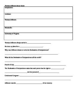 3rd Grade Abeka History Jefferson,Boone,Webster study guides