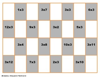 "3's Multiplication Checkers Games w/Quizzes etc. and ""Scaffolding Support"""