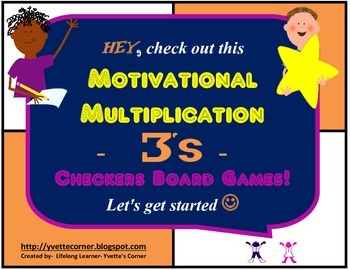 """3's Multiplication Checkers Games w/Quizzes etc. and """"Scaf"""
