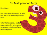 3's Multiplication Facts Interactive PowerPoint with Graph
