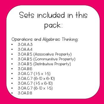 3th Grade Math Task Cards Bundle