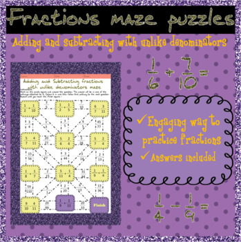 3x Adding and subtracting fractions with unlike denominators mazes
