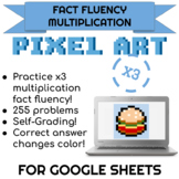 3x Multiplication Pixel Art! Digital Practice for Math Facts with Secret Reveal!