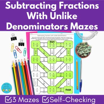 3x Subtracting fractions with unlike denominators mazes