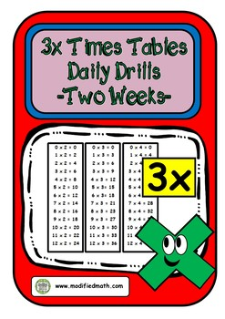 3x Times Table Daily Drills