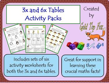 3x and 6x Tables Activity Sheet Packs
