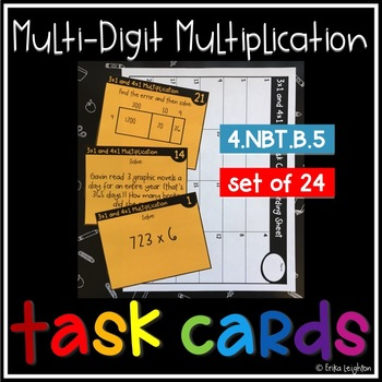 3x1 digit and 4x1 digit Multiplication Task Cards
