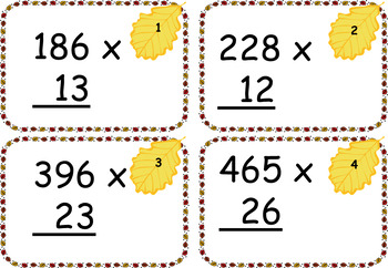3x2 Digit and 3x3 Digit Multiplication Cards ~ FALL THEME