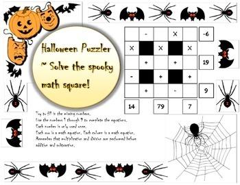 3x3 Basic Halloween Math Puzzler