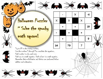3x3 Basic Halloween Math Puzzler