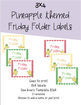 3x4 Friday Folders Labels