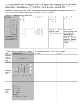 Algebra 2H: 4.01 Introduction to Matrices Spring 2017 (Editable)