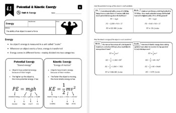 Lesson 4.1 - Potential & Kinetic Energy