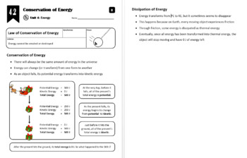 Lesson 4.2 - Conservation of Energy