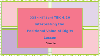 Interpreting the  Positional Value of Digits PowerPoint Lesson