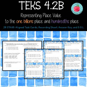 TEKS 4.2B Place Value to the One Billions Place and Hundredths Place Task Cards