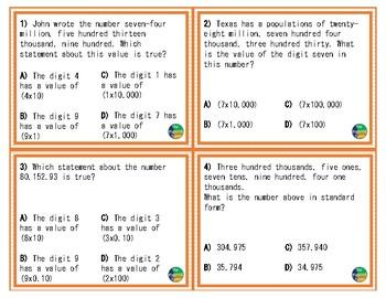 4.2B TEKS: Represent Numbers Math Task Cards