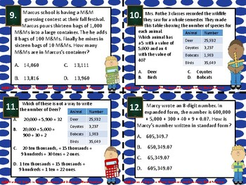 4.2B Value of Digits in Whole Numbers and Decimals Word Problem Task Cards