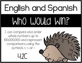 4.2C - Who Would Win?-Comparing Whole Numbers Activity- ENGLISH & SPANISH BUNDLE