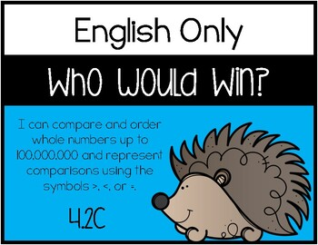 4.2C - Who Would Win? - Comparing and Ordering Whole Numbers Game - ENGLISH