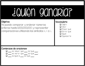 4.2C - Who Would Win? - Comparing and Ordering Whole Numbers Game - SPANISH