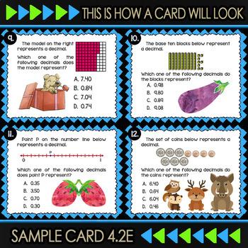 4.2E Math ★ REPRESENTING DECIMALS ★ Math TEK 4.2E ★ TEKS-Aligned Task Cards