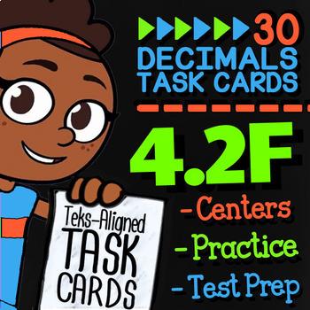 Math TEK 4.2F ★ Comparing Decimals ★ 4th Grade STAAR Math Review Task Cards